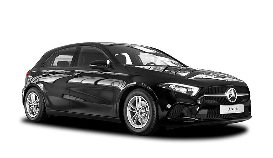Autoleasing-valikoiman musta Mercedes-Benz A 180 A Business Style -malli etuviistosta.
