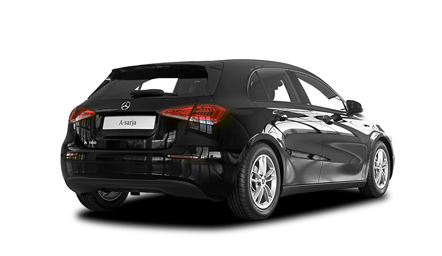 Autoleasing-valikoiman musta Mercedes-Benz A 180 A Business Style -malli takaviistosta.