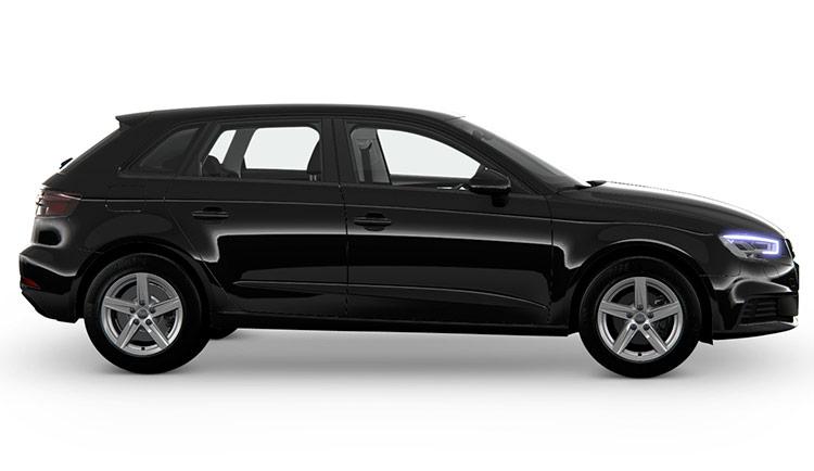 Autoleasing-valikoiman musta Audi A3 Sportback Pro Business 35 TFSI 110kW S tronic -malli sivusta.