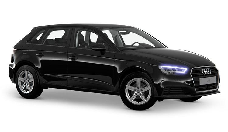 Autoleasing-valikoiman musta Audi A3 Sportback Pro Business 35 TFSI 110kW S tronic -malli etuviistosta.