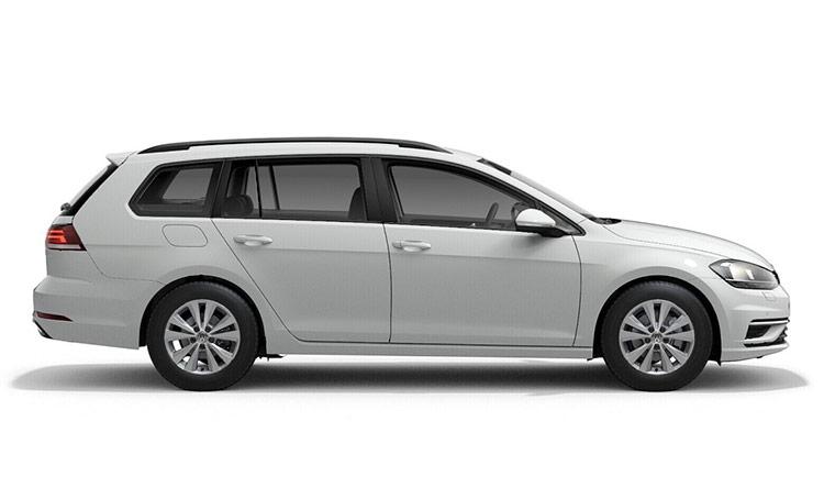 Autoleasing-valikoiman valkoinen Volkswagen Golf Variant Comfortline 1,5 TSI EVO 110 kW DSG -malli sivusta.