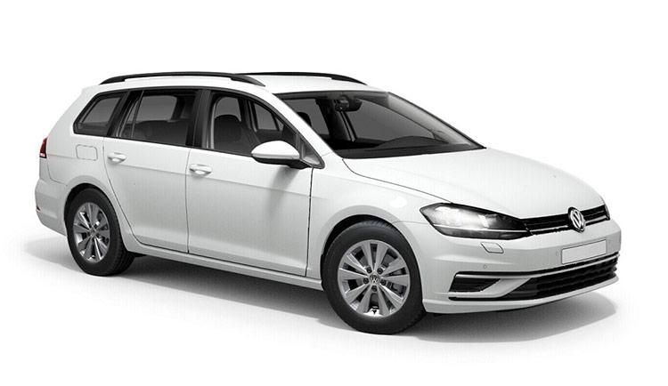 Autoleasing-valikoiman valkoinen Volkswagen Golf Variant Comfortline 1,5 TSI EVO 110 kW DSG -malli etuviistosta.