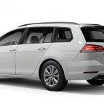 Autoleasing-valikoiman valkoinen Volkswagen Golf Variant Comfortline 1,5 TSI EVO 110 kW DSG -malli takaviistosta.
