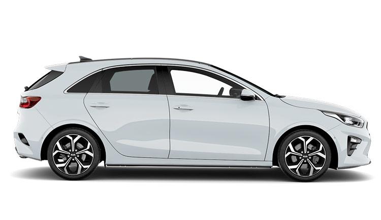 Autoleasing-valikoiman valkoinen Kia Ceed 1.4 T-GDI ISG 140hv EX 5D DCT A/T -malli sivusta.