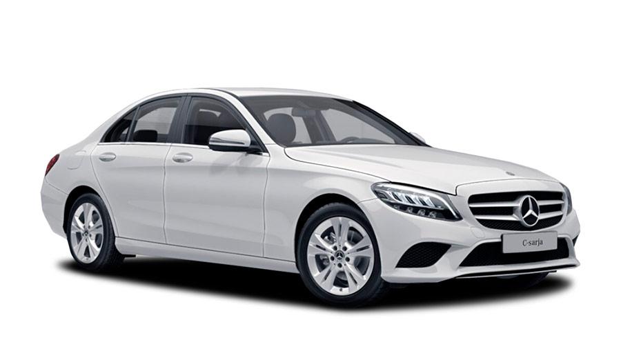 Autoleasing-valikoiman valkoinen Mercedes-Benz C 160 A Business -malli etuviistosta.