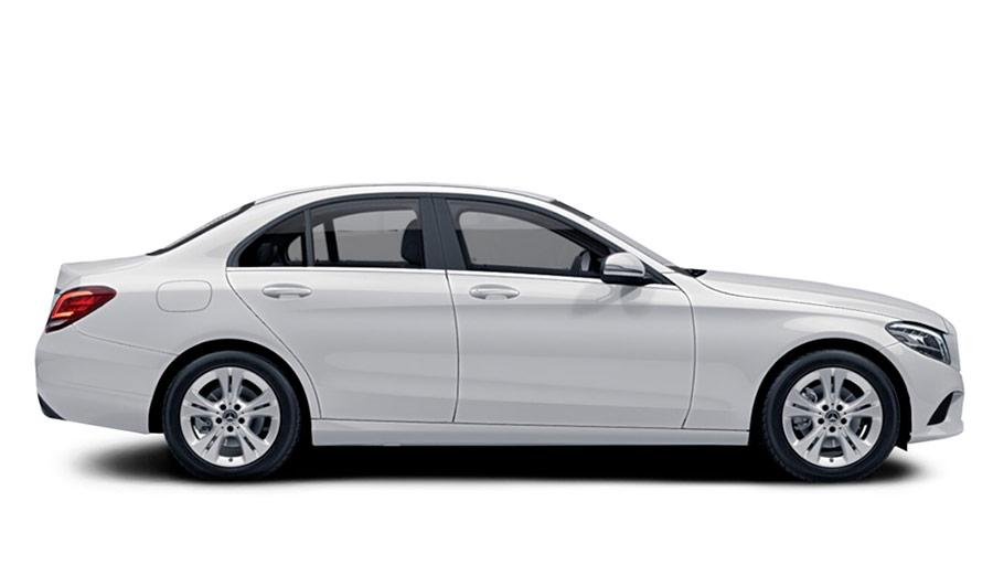 Autoleasing-valikoiman valkoinen Mercedes-Benz C 160 A Business -malli sivusta.