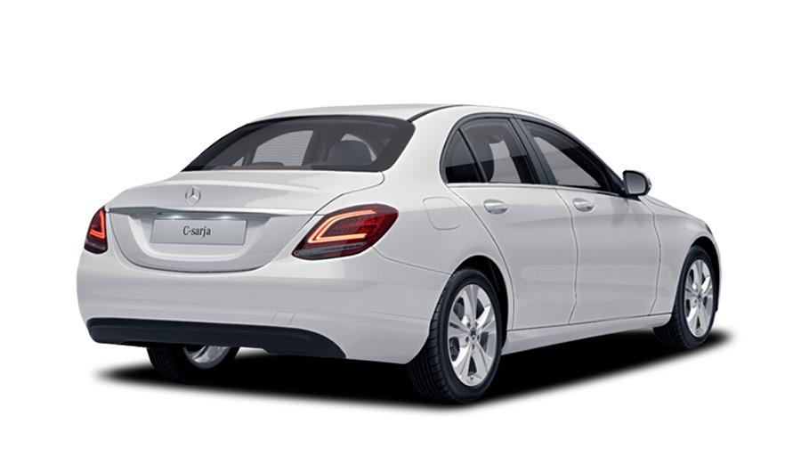 Autoleasing-valikoiman valkoinen Mercedes-Benz C 160 A Business -malli takaviistosta.